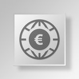 euro concept d'icône du bouton 3D Photo stock
