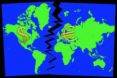 Euro confronto del dollaro Fotografia Stock Libera da Diritti