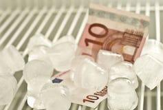 Euro congelato dieci Fotografia Stock