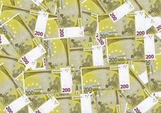 200 euro contant geldgeld als achtergrond Pen, oogglazen en grafieken De rijke economie van het conceptensucces Stock Afbeelding