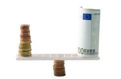 Euro contant geldsaldo Royalty-vrije Stock Afbeeldingen
