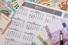 100 200 500 euro- contas Imagens de Stock