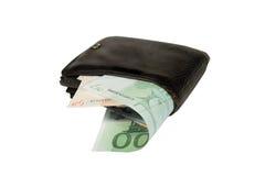 Euro- contas em uma carteira de couro fotografia de stock