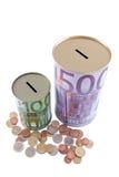 Euro contenitori e monete di soldi Immagine Stock Libera da Diritti