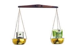 Euro contra dólar Imagen de archivo libre de regalías