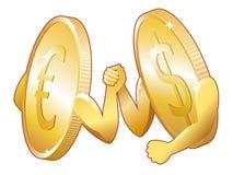 Euro contra dólar ilustración del vector