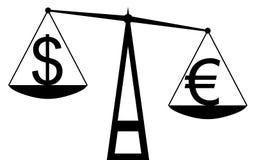 Euro contra o dólar Fotografia de Stock
