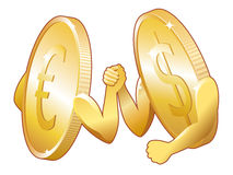 Euro contra o dólar Foto de Stock Royalty Free