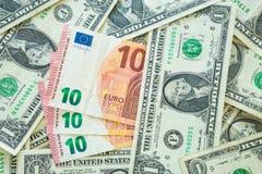 Euro contra o dólar Imagens de Stock