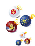 Euro contre le dollar contre Yens Photos libres de droits