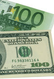 Euro contre le dollar US Photos stock