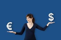 Euro CONTRO Dolar Fotografie Stock Libere da Diritti
