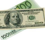 Euro contro il dollaro US Fotografie Stock Libere da Diritti
