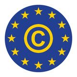 Euro copyright icon for web isolate blue vector illustration