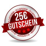25 Euro Coupon Button - Online Badge Marketing Banner with Ribbon. German-Translation: 25 Euro Gutschein. Eps10 Vector Royalty Free Illustration