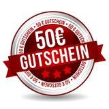 50 euro Couponknoop - Online Kenteken Marketing Banner met Lint Duits-vertaling: 50 euro Gutschein stock illustratie