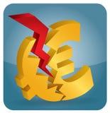Euro crash?. Euro crash, abstract illustration with Euro sign Stock Photos
