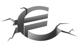 Euro crash. Euro symbol in crash for european crisis concept Stock Photos