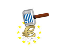 Euro Crash - Greece. Euro is crashed by a hammer which has the Greek flag on it Royalty Free Stock Images