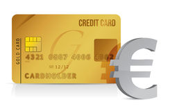 Euro credit card concept illustration design. Over white Royalty Free Stock Photography