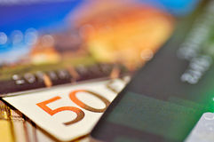 Euro and credit cards Royalty Free Stock Images