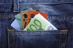 EURO and credit, debit card in the back jeans pocket. S Royalty Free Stock Photography