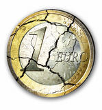 Euro crises. Illustration of a broken Euro coin on white background Royalty Free Stock Photography
