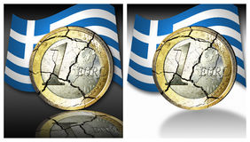 Euro crises. Set of Illustrations from a broken Euro coin with the flag of greece on black and white background Stock Image