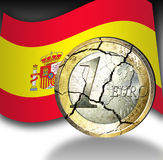 Euro crises. Illustrations from a broken Euro coin with the flag of spain on black and white background Royalty Free Stock Photo