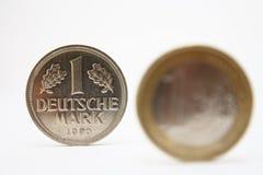 Euro- crises e marco alemão Foto de Stock Royalty Free