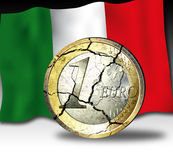Euro crises Italy. Illustrations from a broken Euro coin with the flag of italy on black and white background Stock Photos