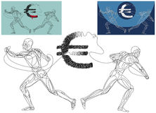 Euro in Crisis. Line silhouettes of a two men ripping appart the Euro symbol Stock Image
