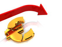 Euro crisis. 3d illustration of crashed euro sign and falling arrow Stock Image