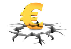Euro crisis. Abstract 3d illustration of euro sign crashed Stock Image