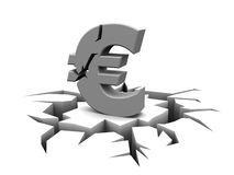 Euro crisis. Abstract 3d illustration of cracked euro sign, over white background Royalty Free Stock Image