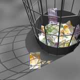 Euro crisis. Bank-papers of euro in a trash basket) 3d illustration Royalty Free Stock Photos