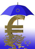 Euro crisis. Symbol for the current euro crisis which affects the European Union and the financial markets worldwide Stock Images
