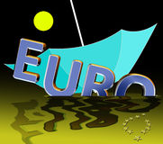 Euro crisis. Symbol for the current euro crisis which affects the European Union and the financial markets worldwide Royalty Free Stock Images
