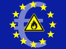 Euro crisis. The Euro on fire, symbol for the Euro crisis which affects the money markets worldwide Royalty Free Stock Photos