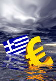 Euro crisis. Ill euro symbol and greek flag drowning in the ocean by stormy weather Stock Photos