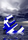 Euro crisis. Ill euro symbol colored with greek flag drowning in the ocean by stormy weather Stock Image