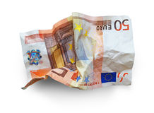 Euro crisis. Crumpled 50 euro banknote in white background Stock Images