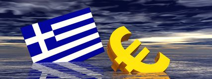 Euro crisis. Ill euro symbol and greek flag drowning in the ocean by stormy weather Stock Photography