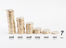 The euro crisis. Representation of the euro crisis over the years royalty free stock photography