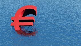 Euro crisis. 3d illustration showing sinking currency Royalty Free Stock Photography