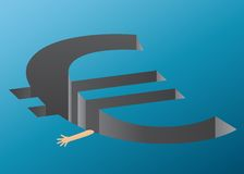 Euro crisis. A hand trying to hold on to the euro cliff - representing the euro crisis Stock Image