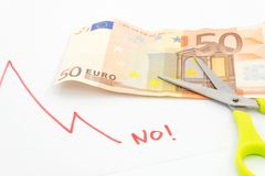Euro crisis. Currency, European Union finance bill and banknote Stock Photos