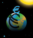 Euro crisis. Eurozone crisis symbolized by euro sign casting shadow over planet Earth Royalty Free Stock Photos