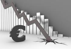 Euro crisis. Arrow crashes to the ground - euro symbol Royalty Free Stock Images