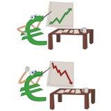 Euro crisis. Cartoon euro presenting investment results Stock Photos